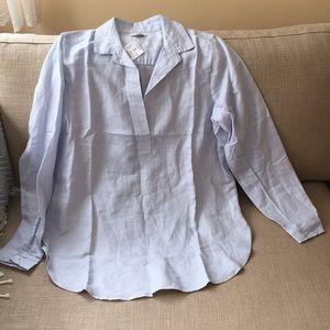 J crew linen cotton blend blue tunic shirt